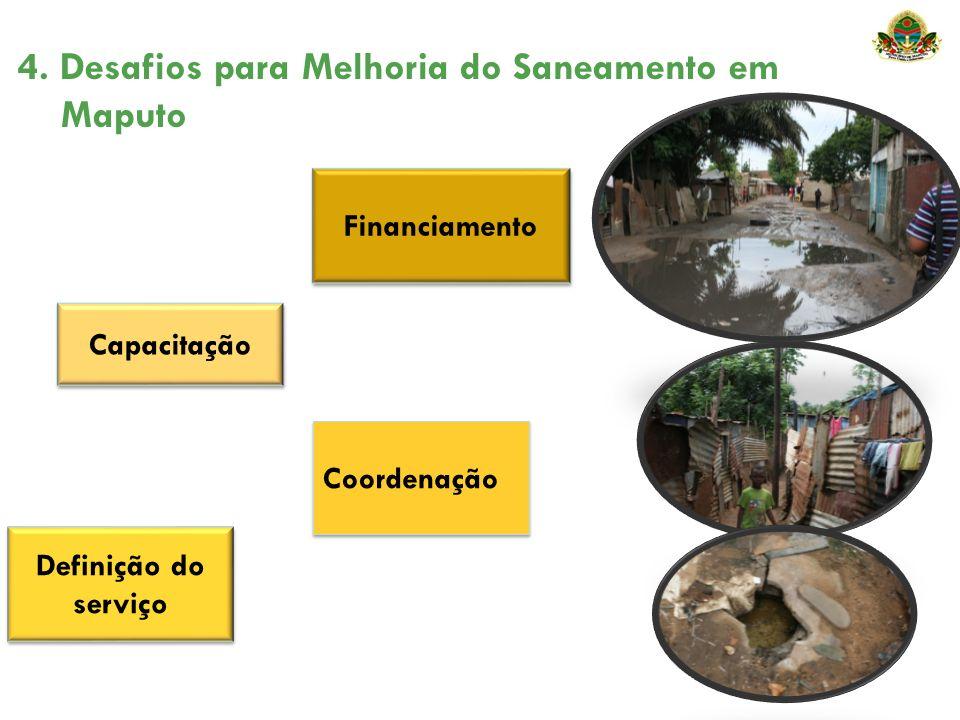4. Desafios para Melhoria do Saneamento em Maputo Coordenação Financiamento Definição do serviço Capacitação