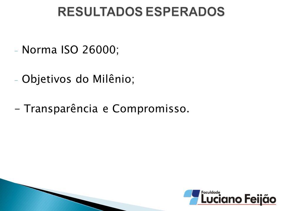 - Norma ISO 26000; - Objetivos do Milênio; - Transparência e Compromisso.