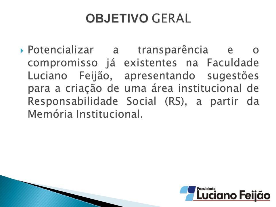 Potencializar a transparência e o compromisso já existentes na Faculdade Luciano Feijão, apresentando sugestões para a criação de uma área institucional de Responsabilidade Social (RS), a partir da Memória Institucional.