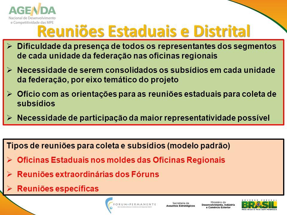 Dificuldade da presença de todos os representantes dos segmentos de cada unidade da federação nas oficinas regionais Necessidade de serem consolidados