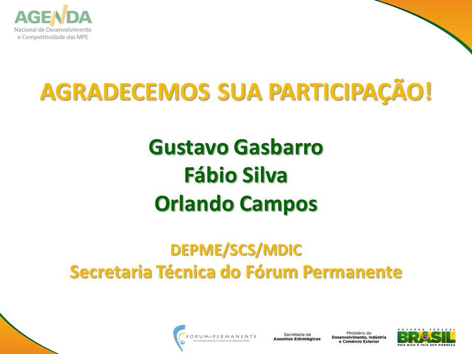 AGRADECEMOS SUA PARTICIPAÇÃO! Gustavo Gasbarro Fábio Silva Orlando Campos DEPME/SCS/MDIC Secretaria Técnica do Fórum Permanente