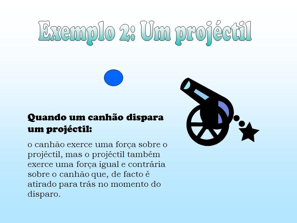 Quando um canhão dispara um projéctil: o canhão exerce uma força sobre o projéctil, mas o projéctil também exerce uma força igual e contrária sobre o canhão que, de facto é atirado para trás no momento do disparo.
