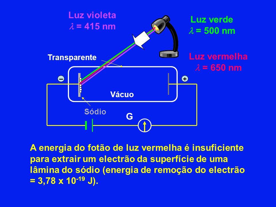 Luz vermelha = 650 nm Luz verde = 500 nm Luz violeta = 415 nm A energia do fotão de luz vermelha é insuficiente para extrair um electrão da superfície de uma lâmina do sódio (energia de remoção do electrão = 3,78 x 10 -19 J).