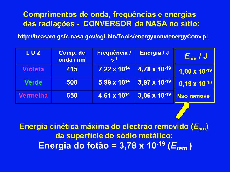 http://heasarc.gsfc.nasa.gov/cgi-bin/Tools/energyconv/energyConv.pl Comprimentos de onda, frequências e energias das radiações - CONVERSOR da NASA no sítio: L U ZComp.
