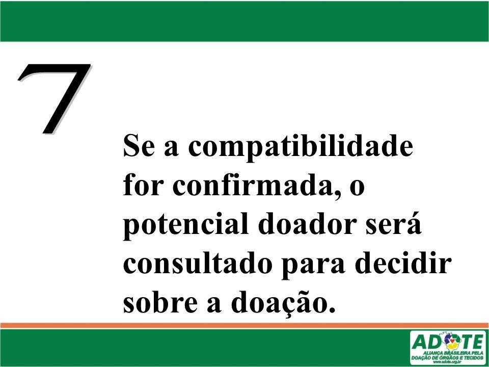 Se a compatibilidade for confirmada, o potencial doador será consultado para decidir sobre a doação.