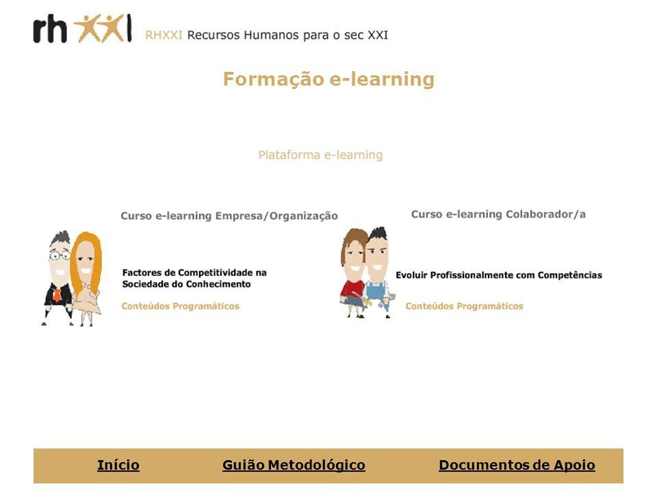 Formação e-learning InícioGuião MetodológicoDocumentos de Apoio