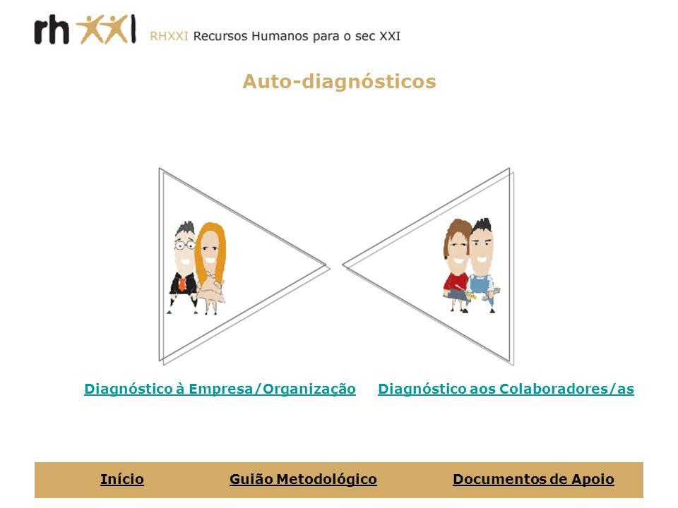 Auto-diagnósticos Diagnóstico à Empresa/OrganizaçãoDiagnóstico aos Colaboradores/as InícioGuião MetodológicoDocumentos de Apoio