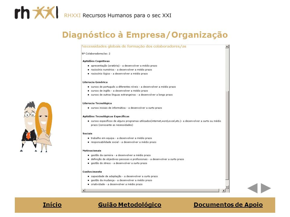 Diagnóstico aos Colaboradores/as InícioGuião MetodológicoDocumentos de Apoio