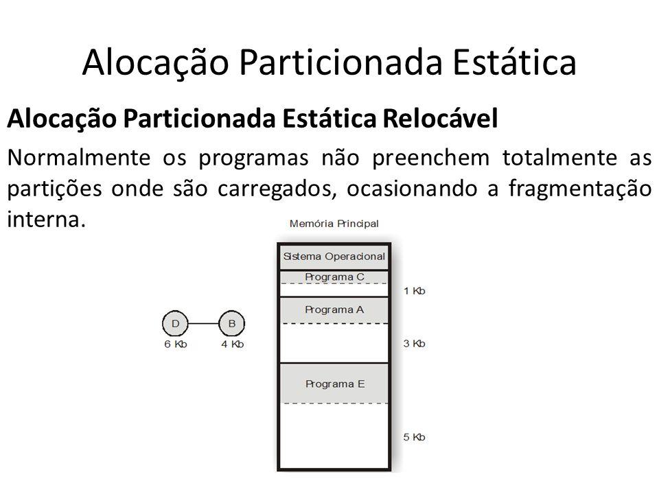 Alocação Particionada Estática Alocação Particionada Estática Relocável Normalmente os programas não preenchem totalmente as partições onde são carreg
