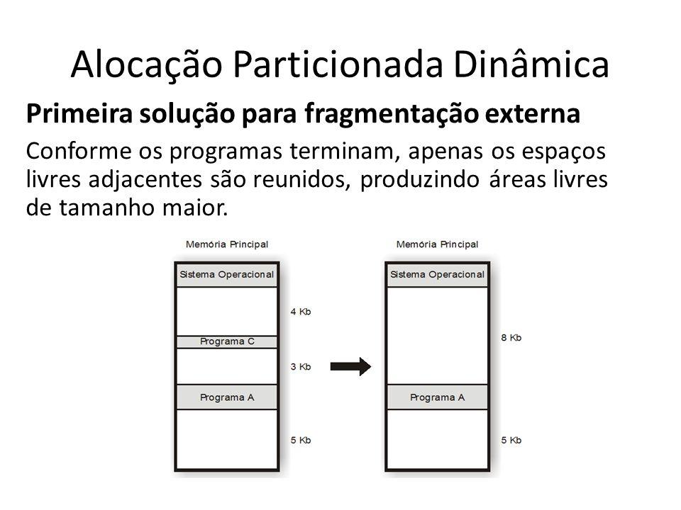 Alocação Particionada Dinâmica Primeira solução para fragmentação externa Conforme os programas terminam, apenas os espaços livres adjacentes são reun