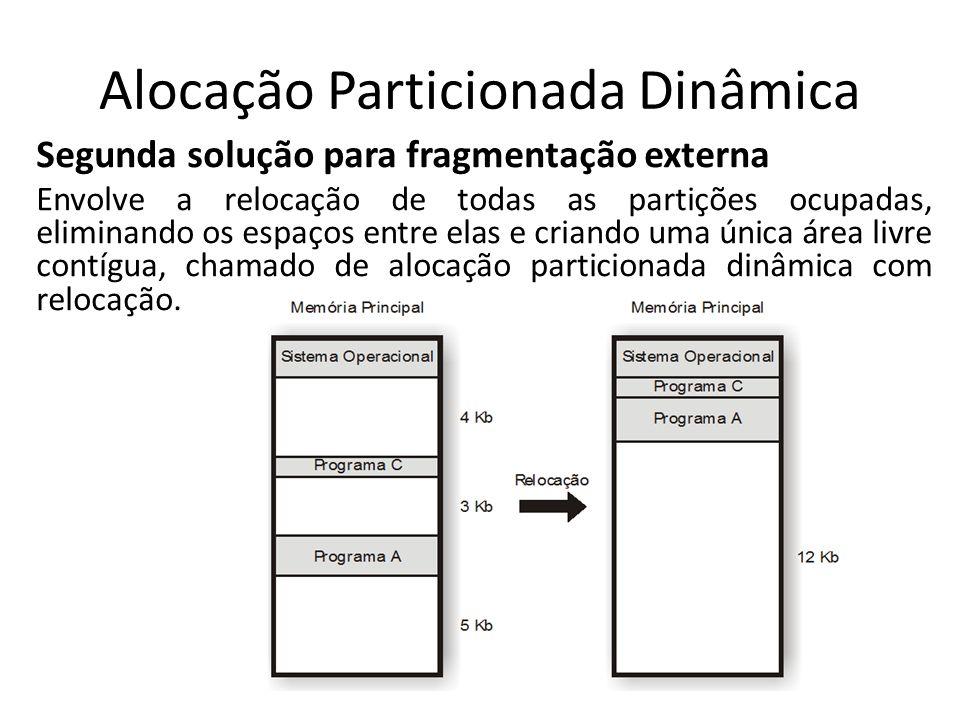 Alocação Particionada Dinâmica Segunda solução para fragmentação externa Envolve a relocação de todas as partições ocupadas, eliminando os espaços ent