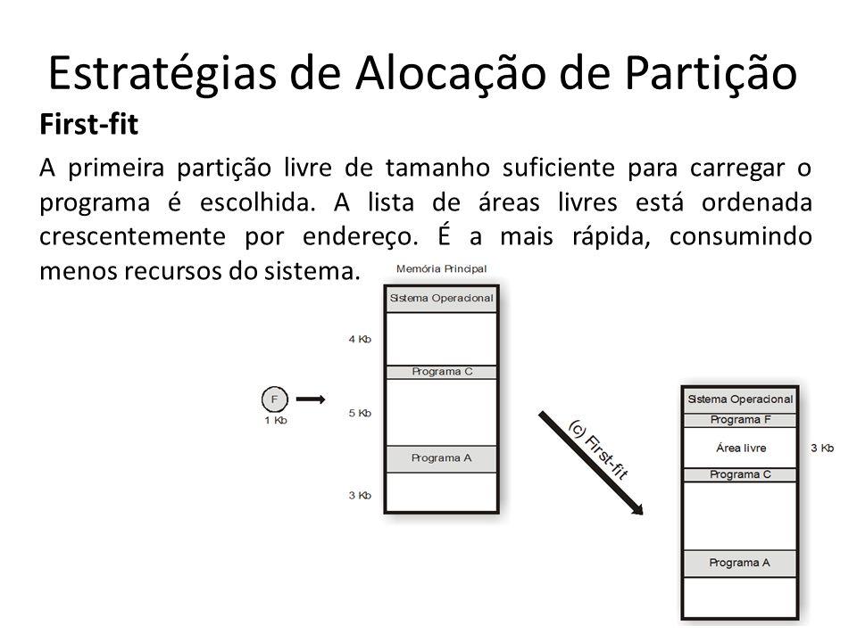 Estratégias de Alocação de Partição First-fit A primeira partição livre de tamanho suficiente para carregar o programa é escolhida. A lista de áreas l