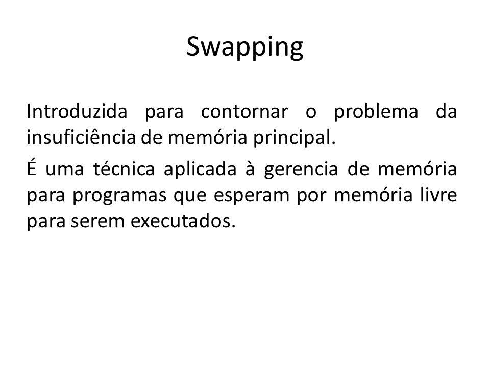 Swapping Introduzida para contornar o problema da insuficiência de memória principal. É uma técnica aplicada à gerencia de memória para programas que
