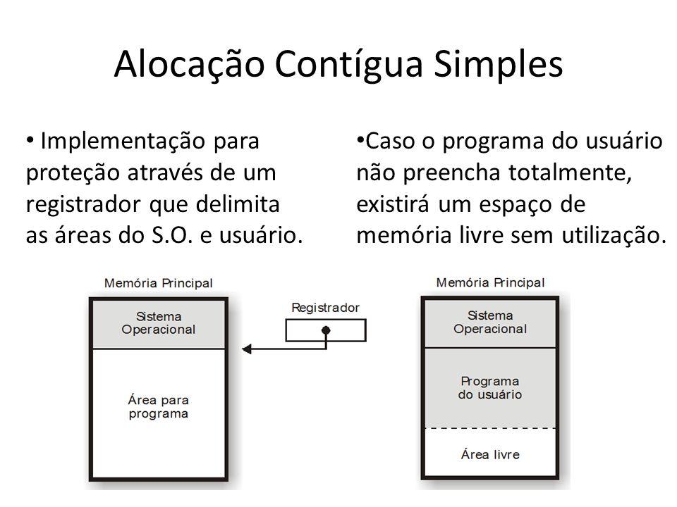 Alocação Contígua Simples Implementação para proteção através de um registrador que delimita as áreas do S.O. e usuário. Caso o programa do usuário nã
