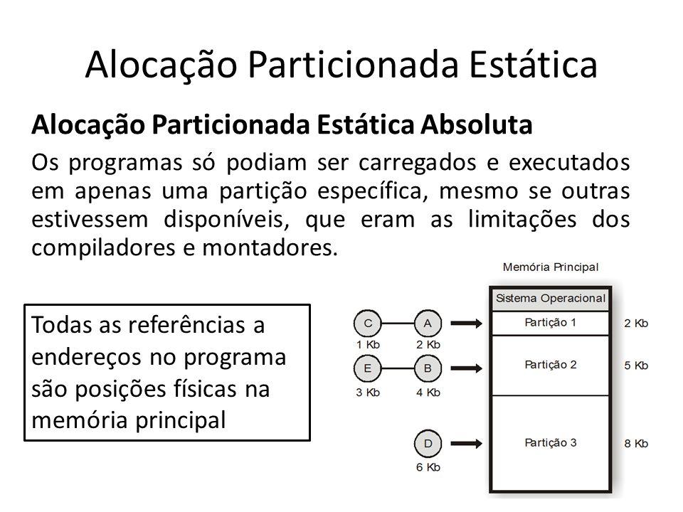 Alocação Particionada Estática Alocação Particionada Estática Absoluta Os programas só podiam ser carregados e executados em apenas uma partição espec