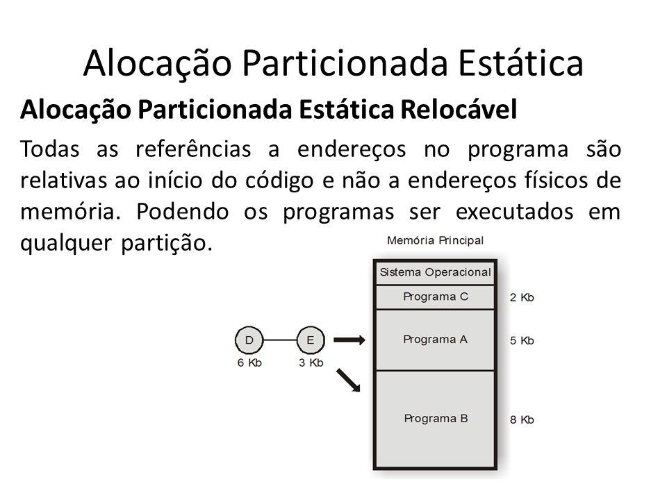 Alocação Particionada Estática Alocação Particionada Estática Relocável Todas as referências a endereços no programa são relativas ao início do código