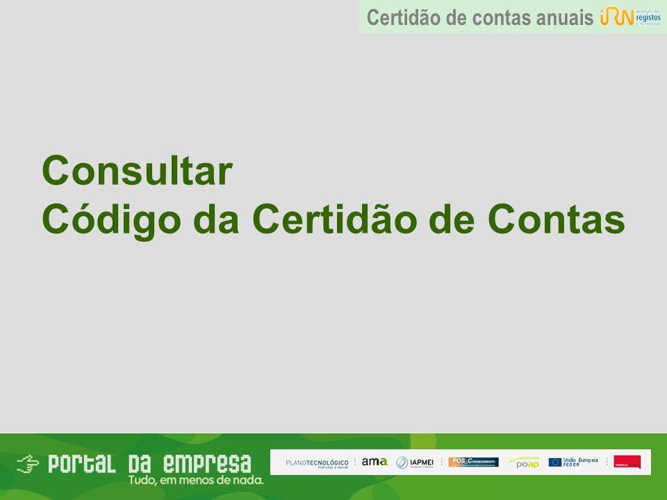 Consultar Código da Certidão de Contas Certidão de contas anuais