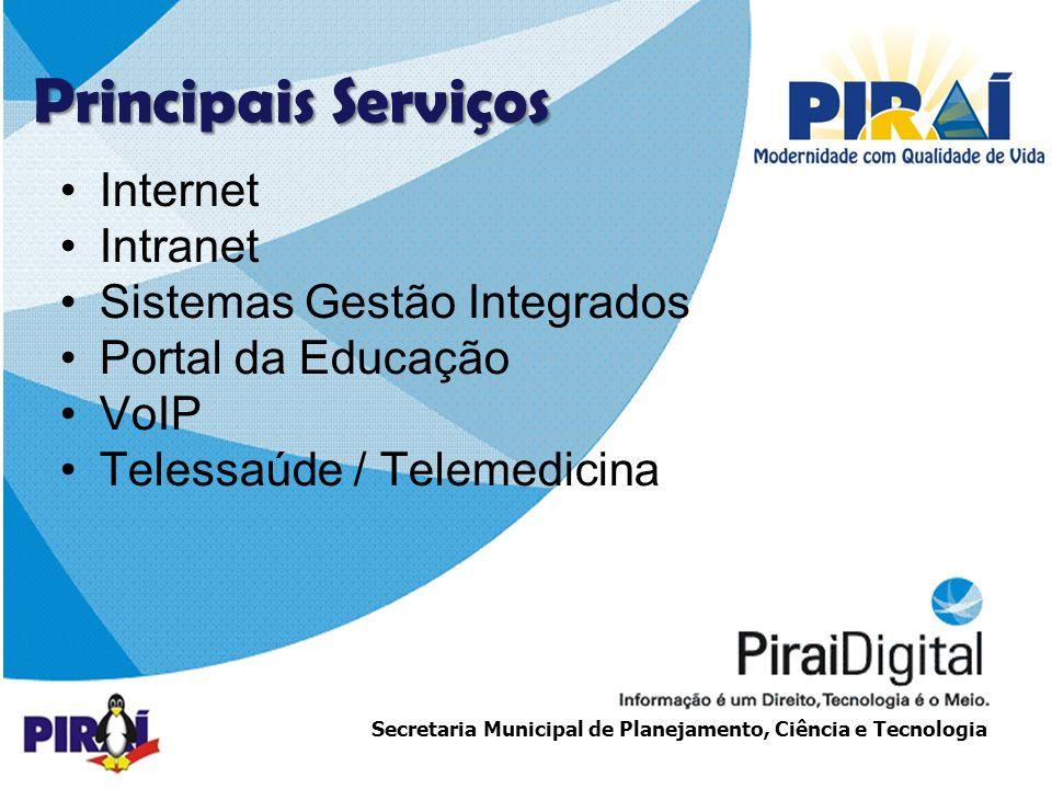 http://www.triadesolucoes.com.brE-mail: comercial@triadesolucoes.com.br Secretaria Municipal de Planejamento, Ciência e Tecnologia Internet Intranet Sistemas Gestão Integrados Portal da Educação VoIP Telessaúde / Telemedicina Principais Serviços