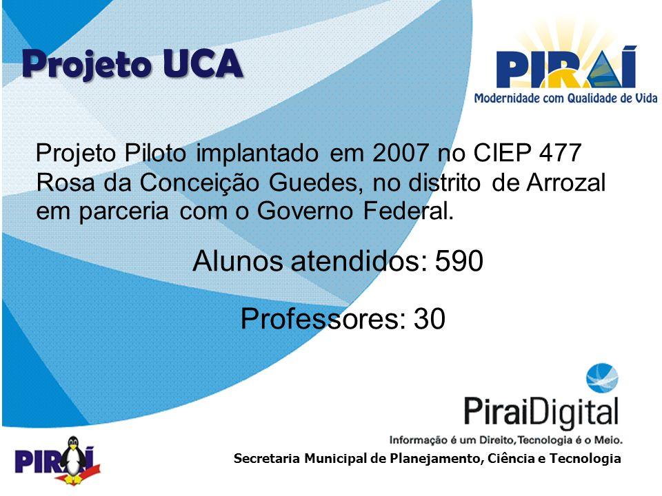 http://www.triadesolucoes.com.brE-mail: comercial@triadesolucoes.com.br Secretaria Municipal de Planejamento, Ciência e Tecnologia Projeto Piloto implantado em 2007 no CIEP 477 Rosa da Conceição Guedes, no distrito de Arrozal em parceria com o Governo Federal.