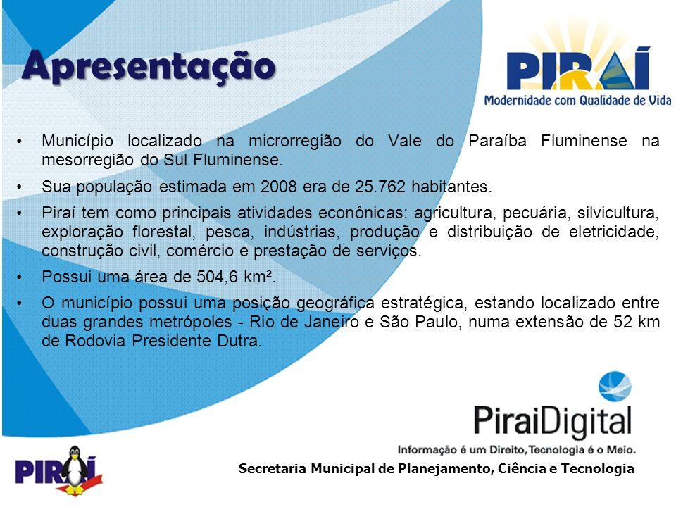 http://www.triadesolucoes.com.brE-mail: comercial@triadesolucoes.com.br Secretaria Municipal de Planejamento, Ciência e Tecnologia Piraí Cidadão Digital Total de famílias atendidas: 670