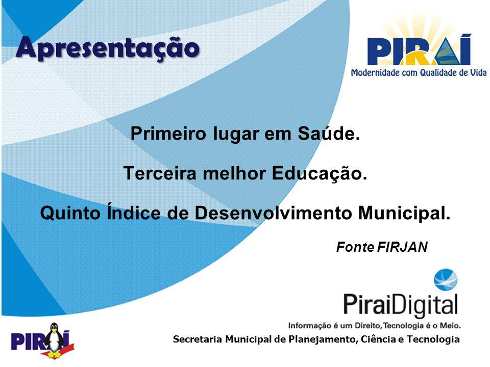 http://www.triadesolucoes.com.brE-mail: comercial@triadesolucoes.com.br Secretaria Municipal de Planejamento, Ciência e Tecnologia Apresentação Primeiro lugar em Saúde.
