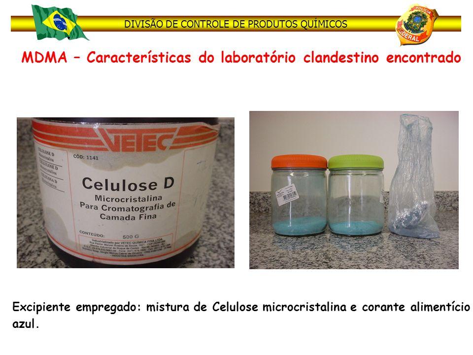 DIVISÃO DE CONTROLE DE PRODUTOS QUÍMICOS MDMA – Características do laboratório clandestino encontrado 12 Excipiente empregado: mistura de Celulose mic