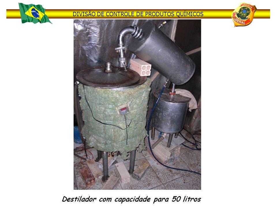 DIVISÃO DE CONTROLE DE PRODUTOS QUÍMICOS Destilador com capacidade para 50 litros
