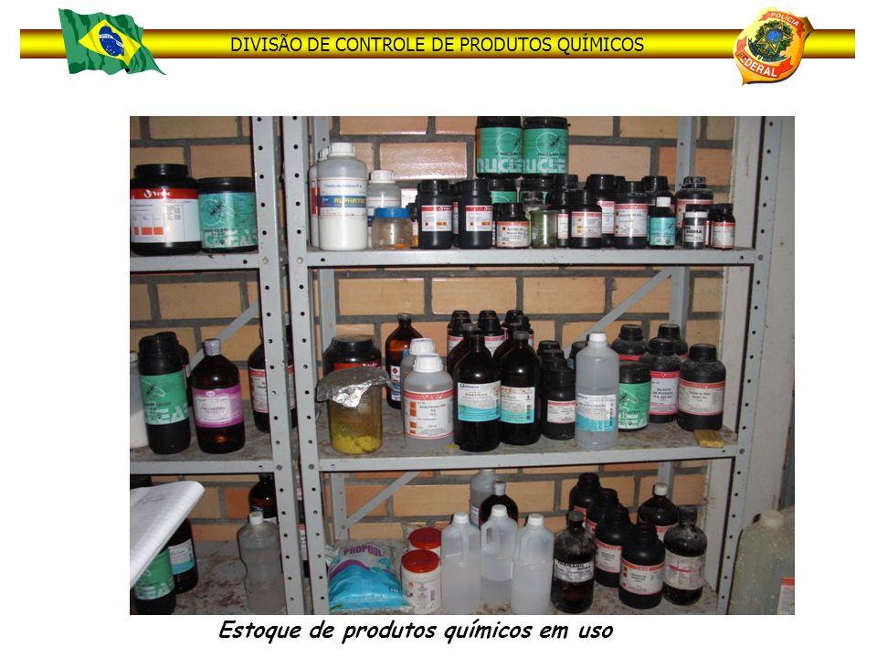 DIVISÃO DE CONTROLE DE PRODUTOS QUÍMICOS Estoque de produtos químicos em uso
