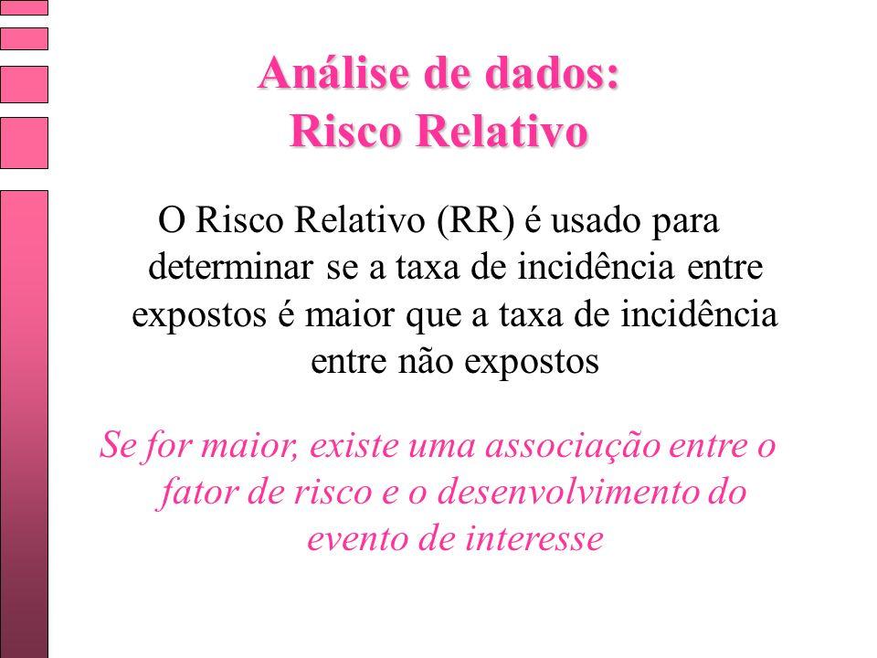 Análise de dados: Risco Relativo O Risco Relativo (RR) é usado para determinar se a taxa de incidência entre expostos é maior que a taxa de incidência