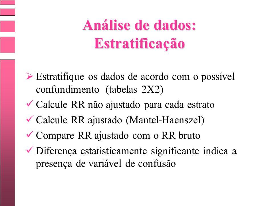 Análise de dados: Estratificação Estratifique os dados de acordo com o possível confundimento (tabelas 2X2) Calcule RR não ajustado para cada estrato