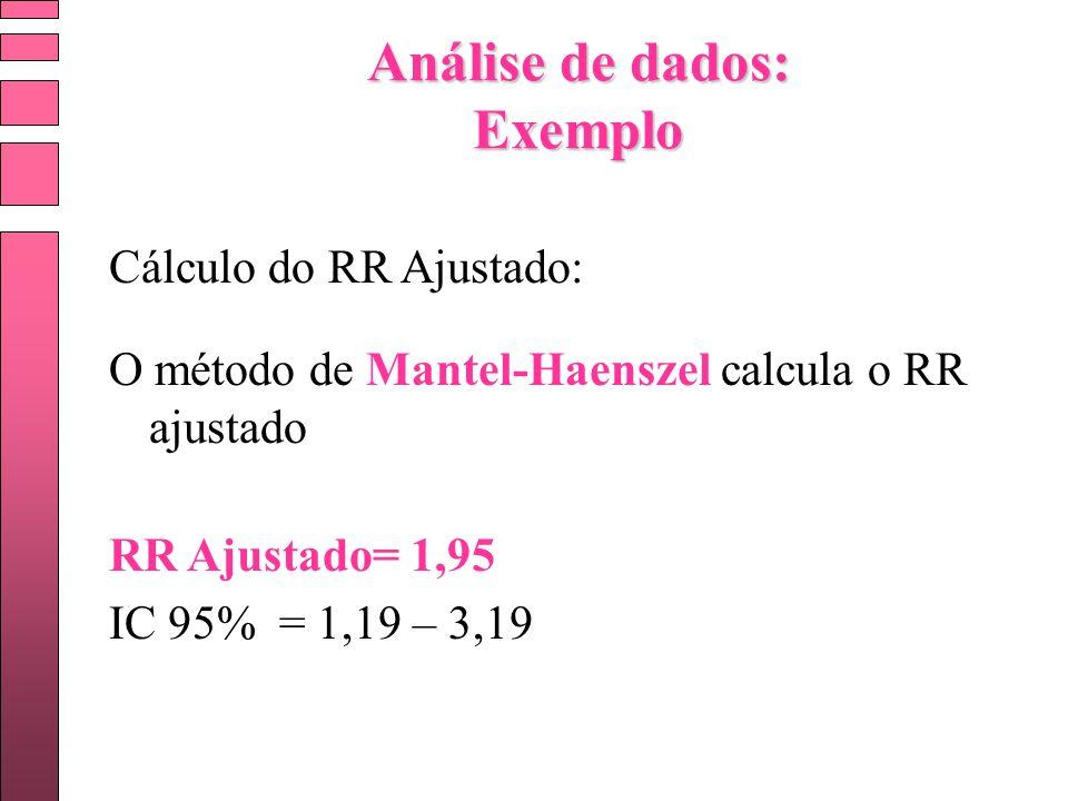 Cálculo do RR Ajustado: O método de Mantel-Haenszel calcula o RR ajustado RR Ajustado= 1,95 IC 95% = 1,19 – 3,19 Análise de dados: Exemplo