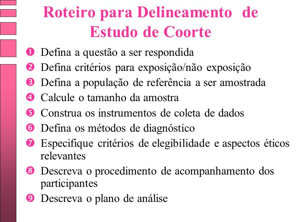 Roteiro para Delineamento de Estudo de Coorte Defina a questão a ser respondida Defina critérios para exposição/não exposição Defina a população de re