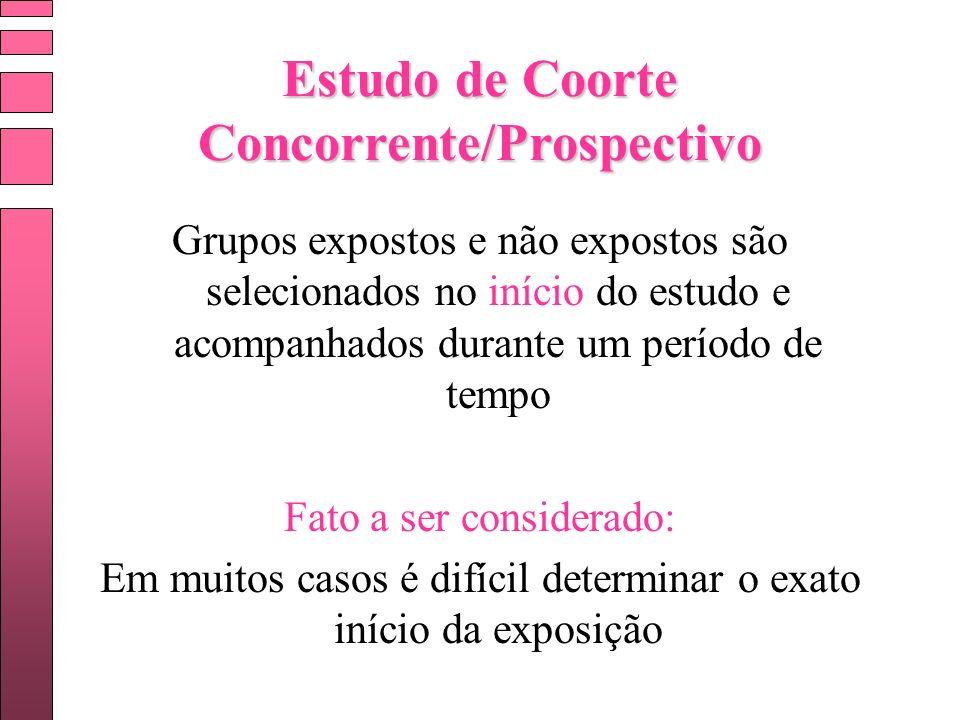 Estudo de Coorte Concorrente/Prospectivo Grupos expostos e não expostos são selecionados no início do estudo e acompanhados durante um período de temp