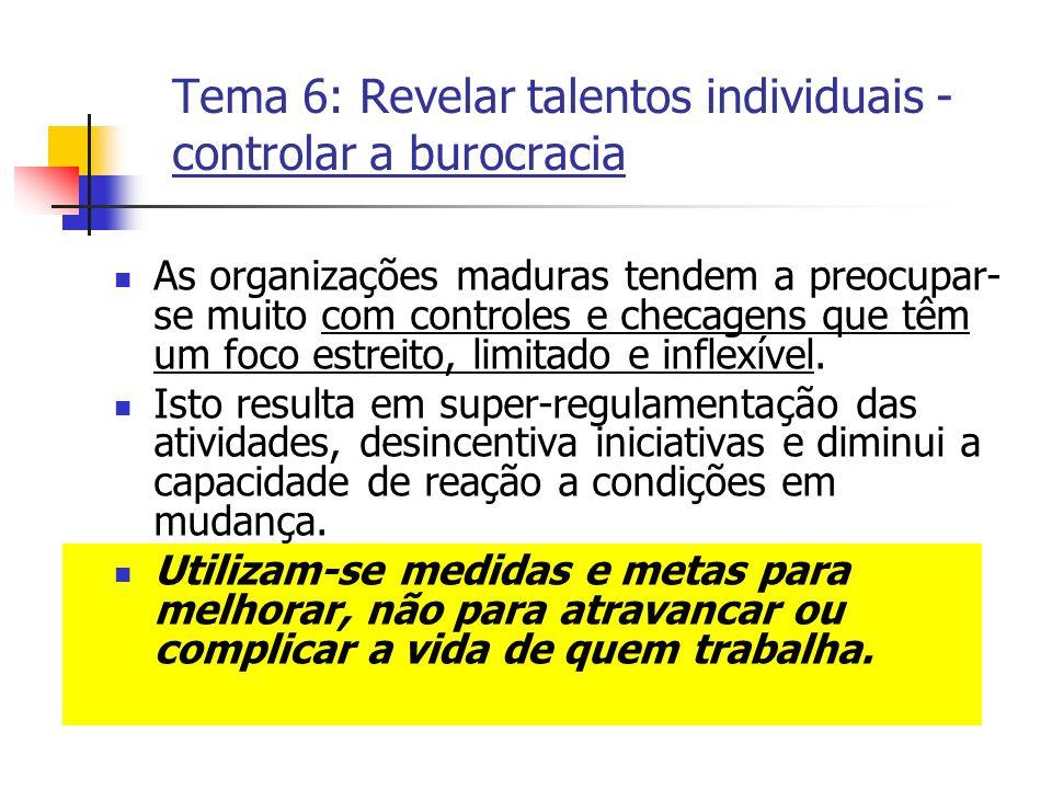 Tema 6: Revelar talentos individuais - controlar a burocracia As organizações maduras tendem a preocupar- se muito com controles e checagens que têm u