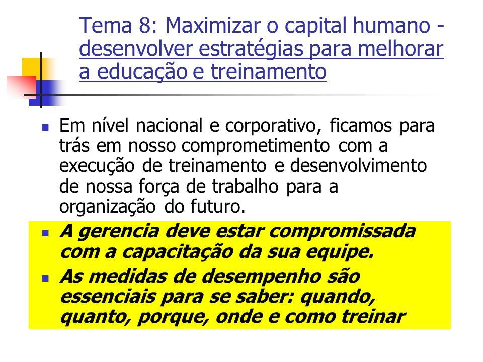 Tema 8: Maximizar o capital humano - desenvolver estratégias para melhorar a educação e treinamento Em nível nacional e corporativo, ficamos para trás