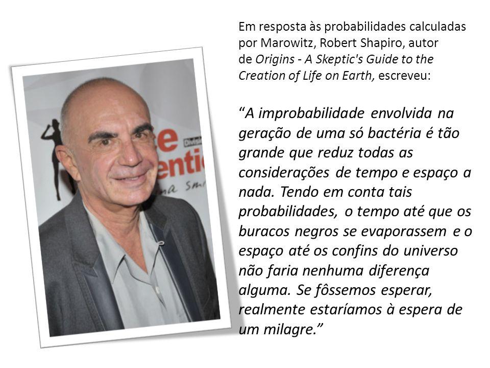 Em resposta às probabilidades calculadas por Marowitz, Robert Shapiro, autor de Origins - A Skeptic's Guide to the Creation of Life on Earth, escreveu