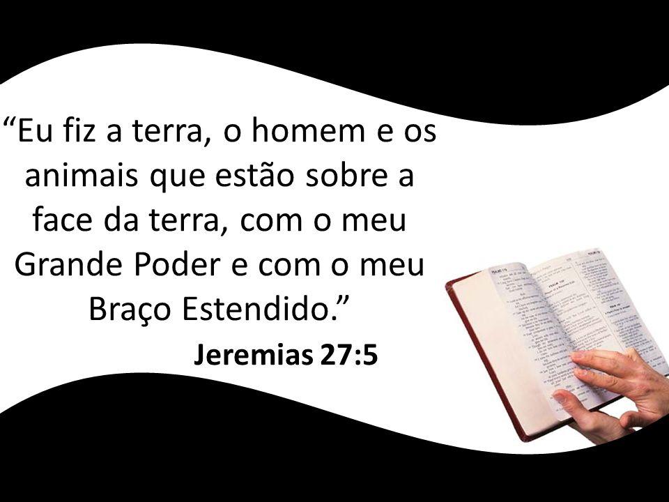 Eu fiz a terra, o homem e os animais que estão sobre a face da terra, com o meu Grande Poder e com o meu Braço Estendido. Jeremias 27:5