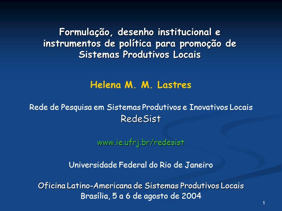1 Formulação, desenho institucional e instrumentos de política para promoção de Sistemas Produtivos Locais Helena M.