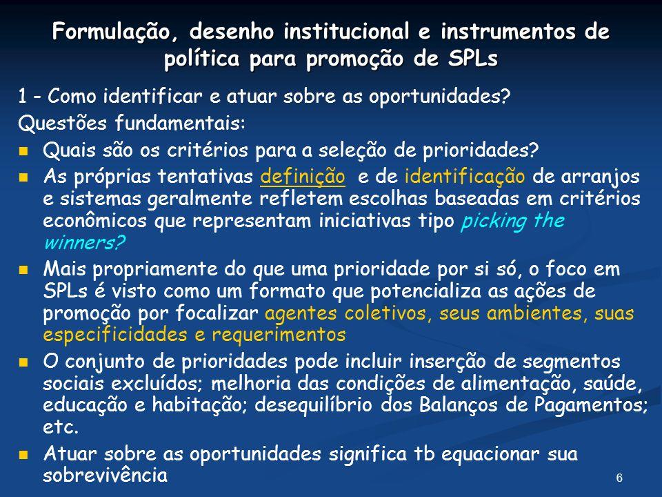 6 Formulação, desenho institucional e instrumentos de política para promoção de SPLs 1 - Como identificar e atuar sobre as oportunidades.