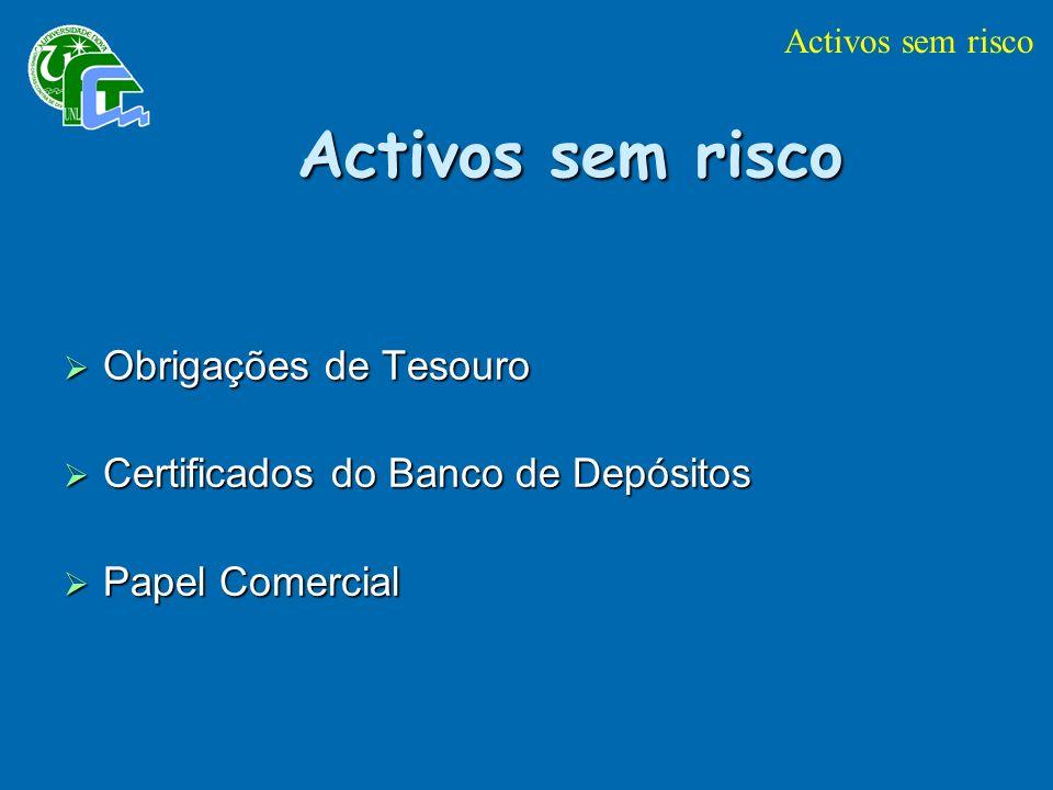 Activos sem risco Obrigações de Tesouro Obrigações de Tesouro Certificados do Banco de Depósitos Certificados do Banco de Depósitos Papel Comercial Papel Comercial Activos sem risco