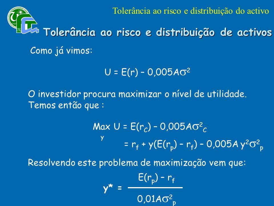 Tolerância ao risco e distribuição de activos Como já vimos: U = E(r) – 0,005A 2 O investidor procura maximizar o nível de utilidade.