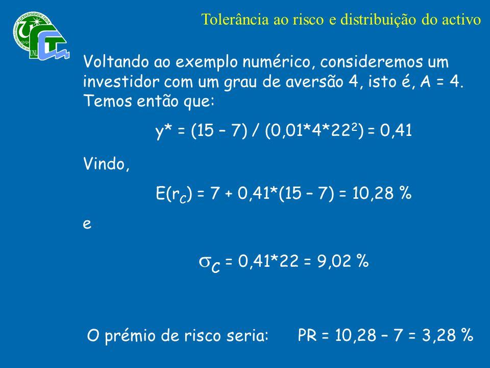 Voltando ao exemplo numérico, consideremos um investidor com um grau de aversão 4, isto é, A = 4.