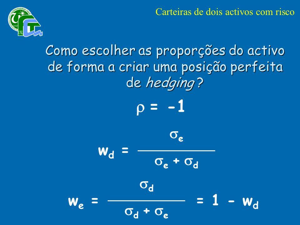 Como escolher as proporções do activo de forma a criar uma posição perfeita de hedging .