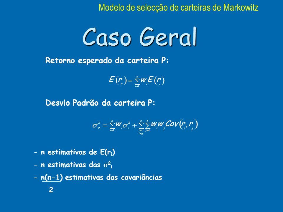 Caso Geral n i ii P rEwrE 1 Retorno esperado da carteira P: Desvio Padrão da carteira P: n ji i n j j i j i n i ii P rrCovwww 111 22, - n estimativas de E(r i ) - n estimativas das 2 i - n(n-1) estimativas das covariâncias 2 Modelo de selecção de carteiras de Markowitz