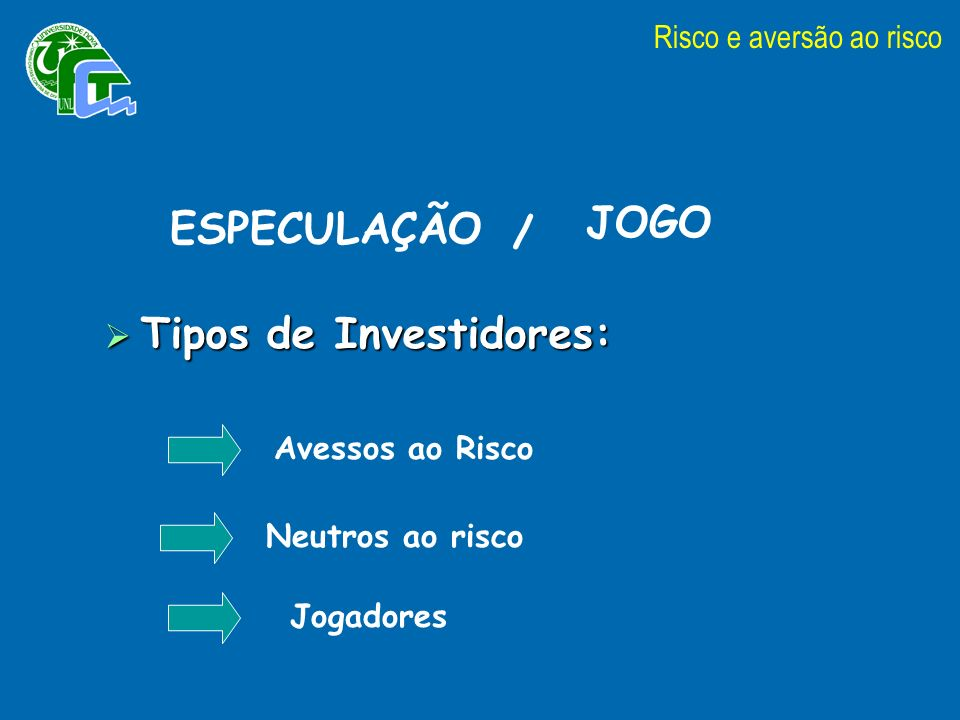 Tipos de Investidores: Tipos de Investidores: Avessos ao Risco Neutros ao risco Jogadores Risco e aversão ao risco ESPECULAÇÃO JOGO /