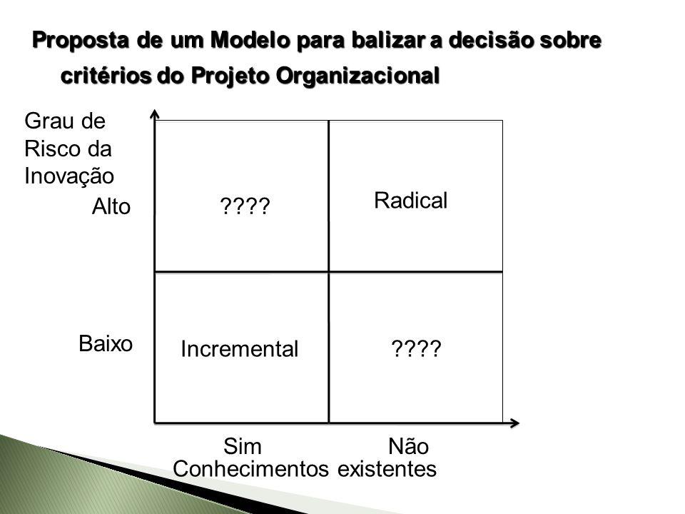 Baixo Alto Incremental Radical Grau de Risco da Inovação Conhecimentos existentes SimNão ????