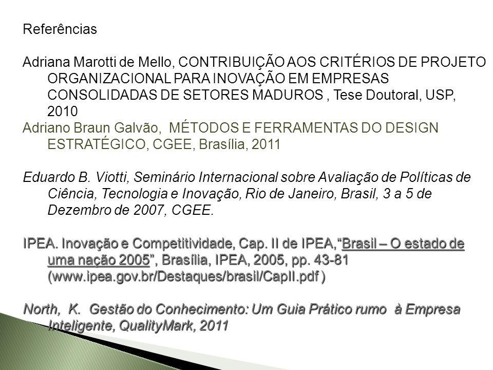 Referências Adriana Marotti de Mello, CONTRIBUIÇÃO AOS CRITÉRIOS DE PROJETO ORGANIZACIONAL PARA INOVAÇÃO EM EMPRESAS CONSOLIDADAS DE SETORES MADUROS,
