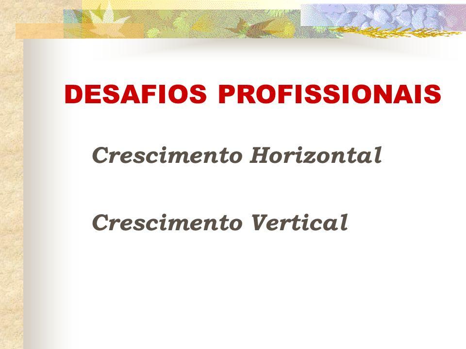 DESAFIOS PROFISSIONAIS Crescimento Horizontal Crescimento Vertical