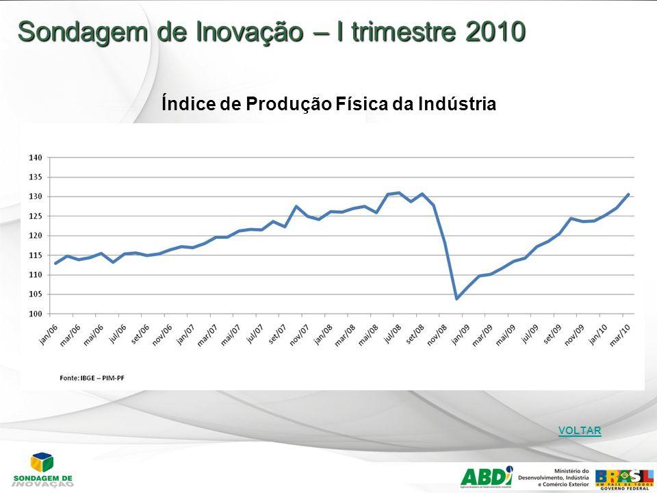 28 Sondagem de Inovação – I trimestre 2010 Índice de Produção Física da Indústria VOLTAR