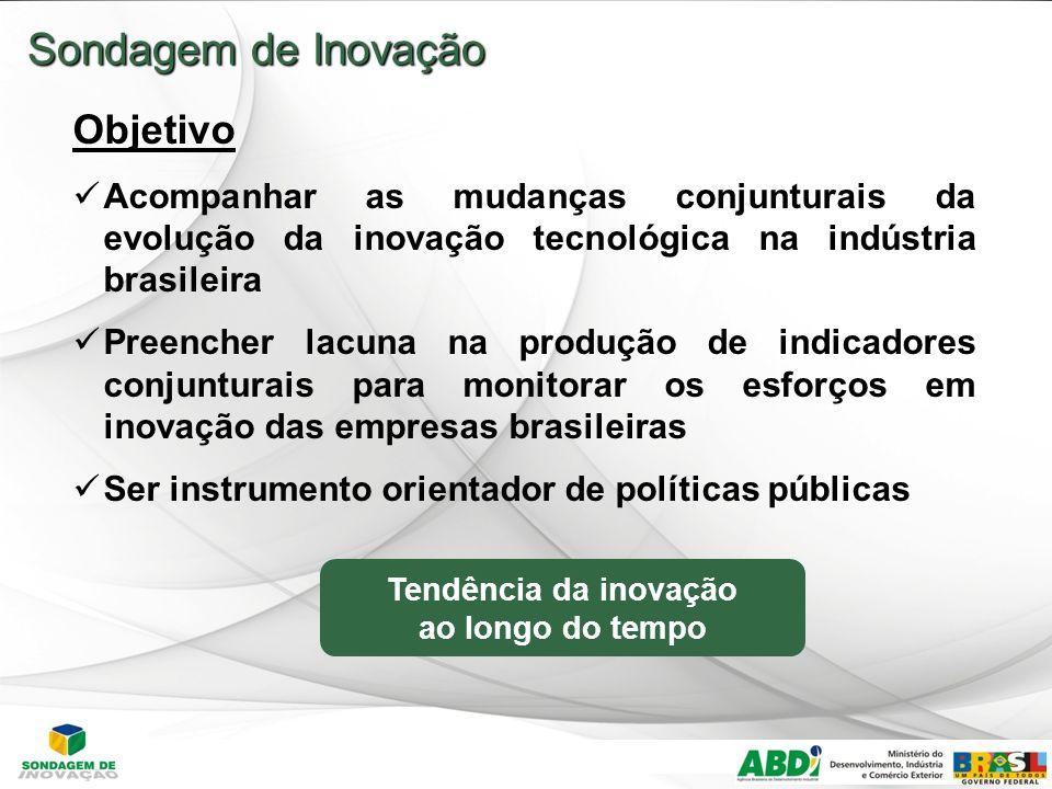 4 Sondagem de Inovação Objetivo Acompanhar as mudanças conjunturais da evolução da inovação tecnológica na indústria brasileira Preencher lacuna na produção de indicadores conjunturais para monitorar os esforços em inovação das empresas brasileiras Ser instrumento orientador de políticas públicas Tendência da inovação ao longo do tempo